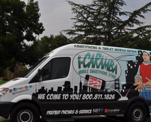 View of the i-Caramba Mobile Repair Van Fleet Ready to Serve You